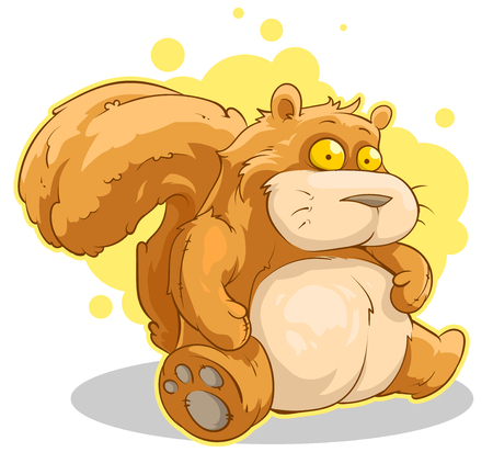 red squirrel: A vector illustration of fat cartoon sitting red squirrel