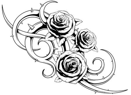 Un ejemplo del vector de rosas frescas con los puntos del tatuaje