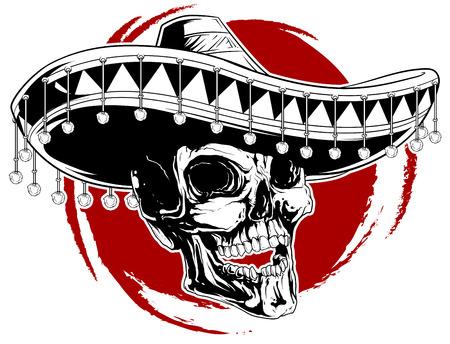 Una ilustración vectorial de fresco del tatuaje del cráneo en el sombrero