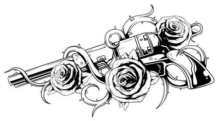 rosas negras: Una ilustración vectorial de revólver con rosas tatuaje