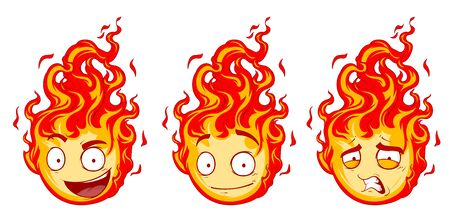 grimace: A vector illustration pretty cartoon faces with red fire Illustration