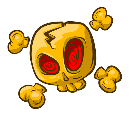 red eyes: A vector illustration of cartoon yellow skull with red eyes and bones