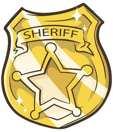 sheriffs: A vector illustration of cartoon golden sheriffs badge with star Illustration