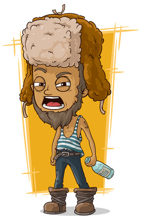 anchor man: A vector illustration of cartoon drunk man in earflaps with bottle