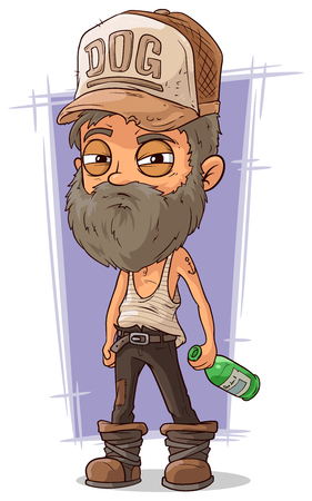 homeless: A vector illustration of cartoon old sad homeless man Illustration