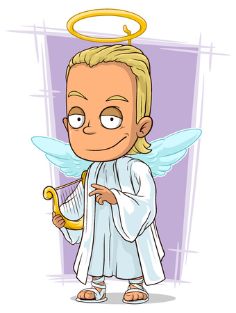 longhaired: A vector illustration of cartoon attractive young blond angel Illustration