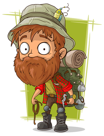 A vector illustration of cartoon bearded man with spoon and piolet Vectores