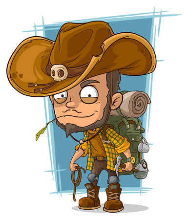 crafty: A vector illustration of cartoon crafty man in cowboys hat Illustration