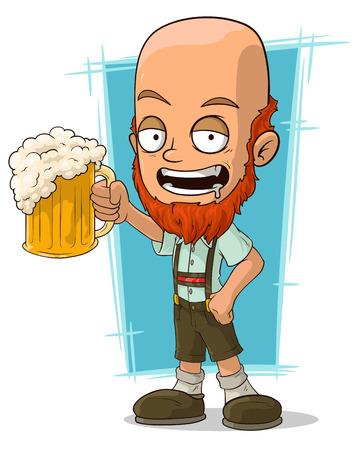 bavarian culture: A vector illustration of cartoon bald bavarian with beer