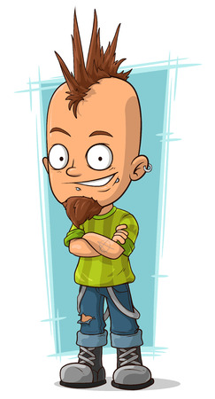 mohawk: A vector illustration of Cartoon cool punk with mohawk hairstyle