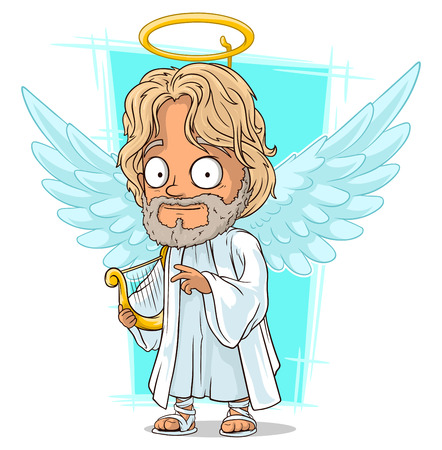 nimbus: A vector illustration of cartoon good angel with nimbus and harp Illustration
