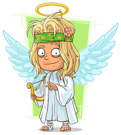 nimbus: A vector illustration of cartoon good longhair hippie angel