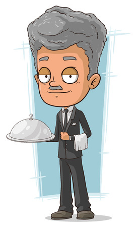grizzle: A vector illustration of cartoon grizzle waiter with tray Illustration