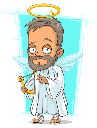 A vector illustration of cartoon holy man with small wings
