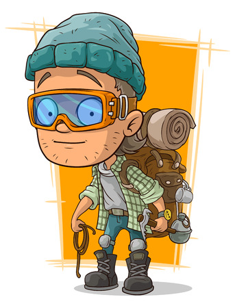 A vector illustration of cartoon man in eyeglasses with backpack