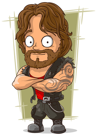 A vector illustration of cartoon muscular man in sleeveless shirt Ilustracja