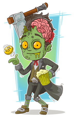 A vector illustration of cartoon pretty zombie with beer and axe Illustration