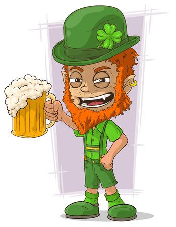 lucky man: A vector illustration of cartoon redhead bavarian leprechaun