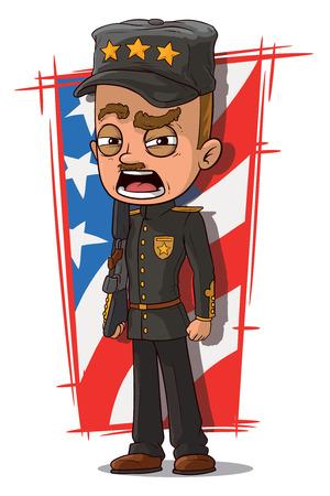 general: A vector illustration of cartoon shouting general in black uniform Illustration