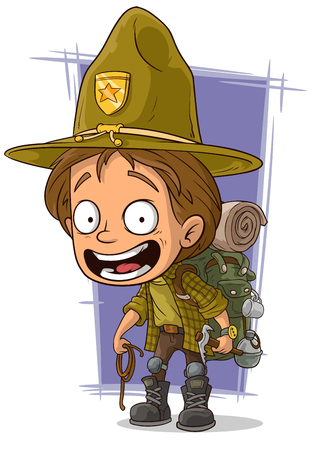 A vector illustration of cartoon smiling young boyscout in big hat Illustration