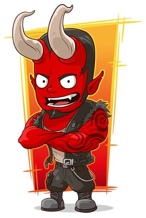 A vector illustration of cartoon strong evil daemon with horns