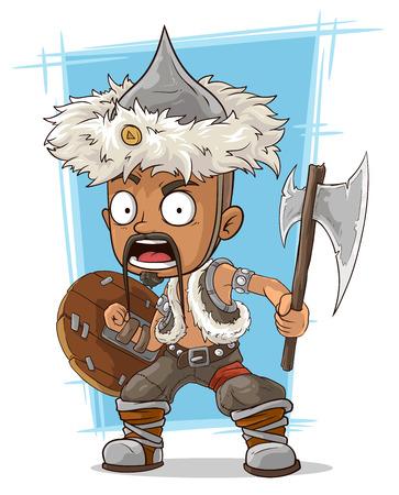 barbarian: A vector illustration of cartoon barbarian mongol with axe