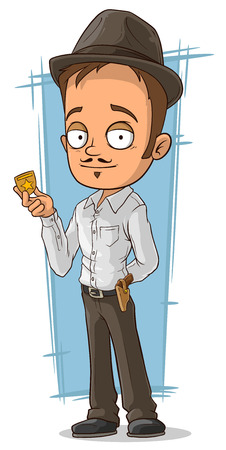 holster: A vector illustration of cartoon detective with badge and hat