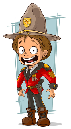 canadian military: A vector illustration of cartoon canadian ranger in red uniform