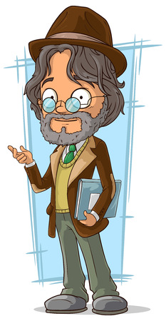 long haired: A vector illustration of cartoon clever teacher with hat