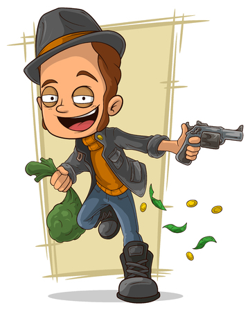 burglar man: A vector illustration ofcartoon cool robber with gun and money