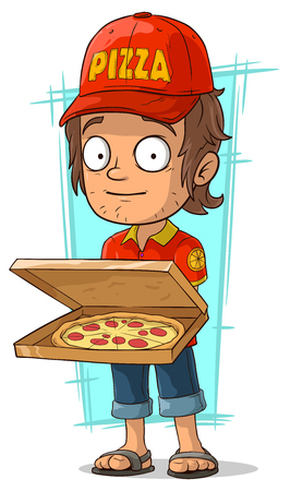 A vector illustration of cartoon delivery man with open pizza box Illustration
