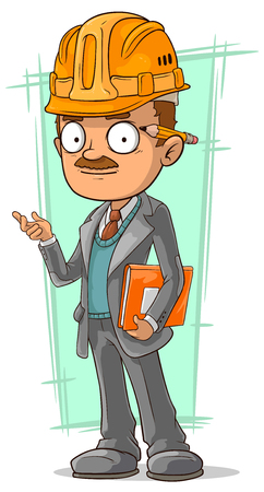 A vector illustration of cartoon clever engineer with pencil