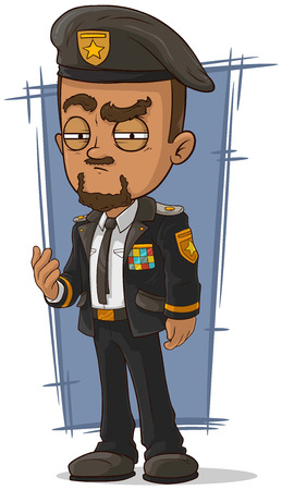 general: A vector illustration of cartoon crafty general in dress uniform Illustration