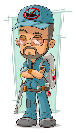 A vector illustration of cartoon bearded exterminator in blue uniform