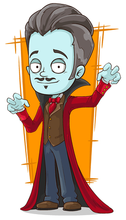 A vector illustration of cartoon funny pale vampire in red cloak