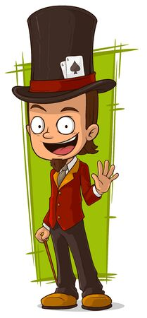 illusionist: A vector illustration of cartoon happy illusionist in high-hat