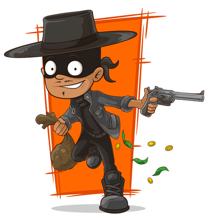 burglar man: A vector illustration of cartoon robber in mask and hat