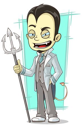 trident: A vector illustration of cartoon white devil with sharp trident Illustration