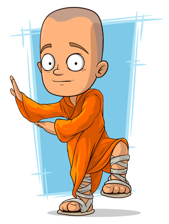 A vector illustration of cartoon young buddhist monk Ilustracja