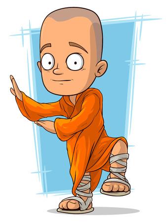 monasteri: Una illustrazione vettoriale di cartone animato giovane monaco buddista Vettoriali
