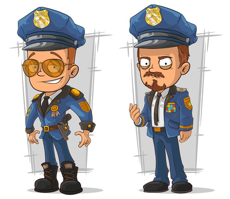 A vector illustration of set of cartoon cops in blue uniform Ilustracja