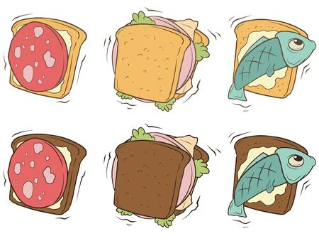 stuffing: A vector illustration set of cartoon sandwiches with different stuffing