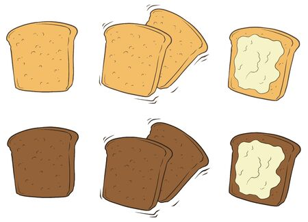 toasted bread: A vector illustration set of cartoon tasty toasted bread with butter Illustration