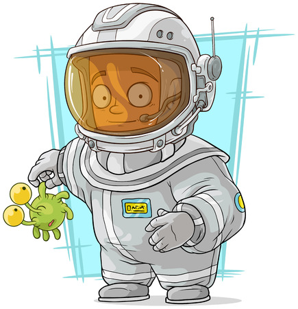 space suit: A vector illustration of cartoon astronaut in space suit
