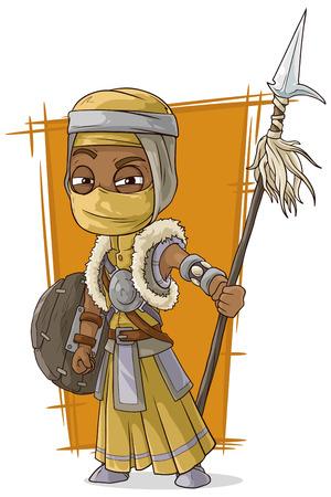 assassin: A vector illustration of cartoon cool Persian assassin with spear