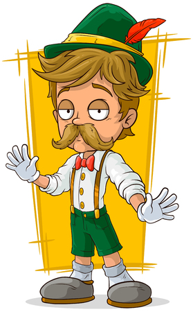 A vector illustration of cartoon Bavarian in hat with mustache Illustration