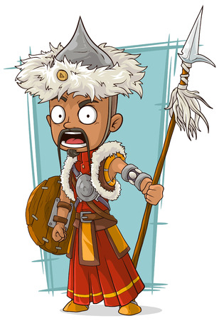 armlet: A vector illustration of cartoon crazy Mongolian warrior with spear