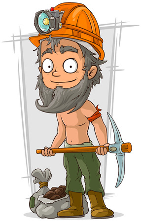shirtless: A vector illustration of cartoon bearded digger with coal in helmet