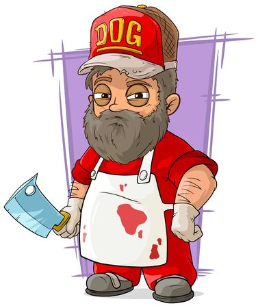 A vector illustration of cartoon big butcher in apron with backsword