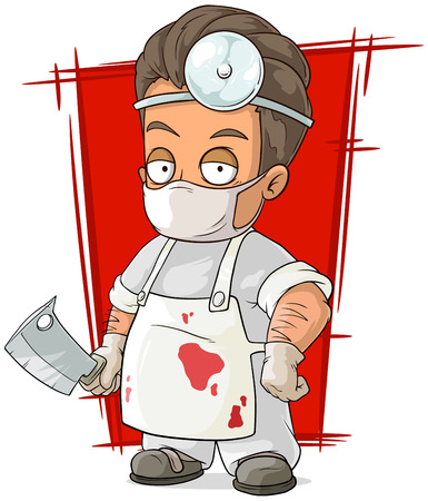 surgeon mask: A vector illustration of cartoon evil surgeon in white mask